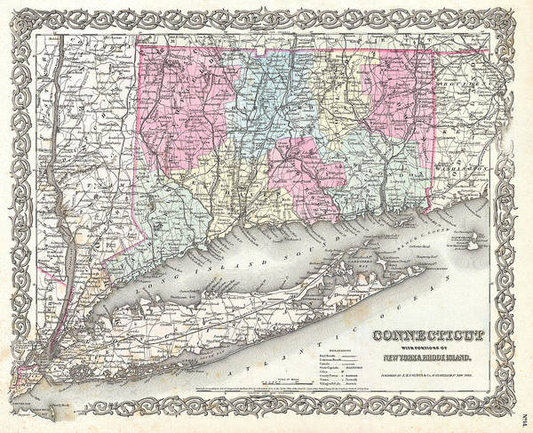 Drawing - Map Of Connecticut And Long Island by Joseph Hutchins Colton