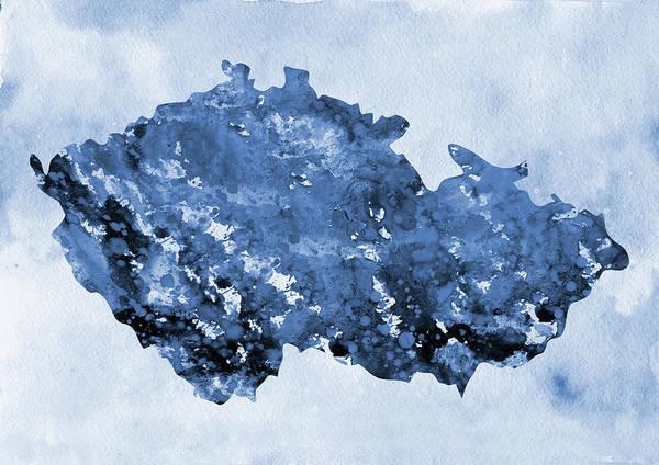 Czech Digital Art - Map Of Czech Republic-blue by Erzebet S