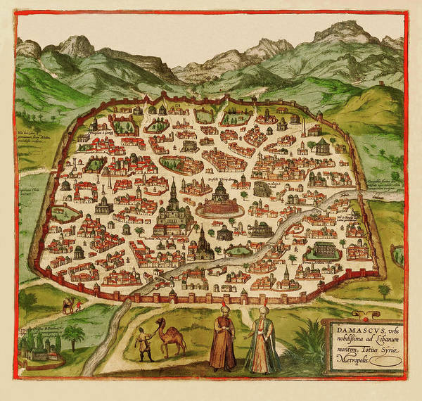 Damascus Photograph - Map Of Damascus 1575 by Andrew Fare