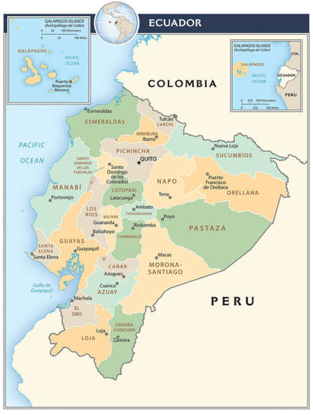 Peru Map Mixed Media - Map Of Ecuador by Roy Pedersen