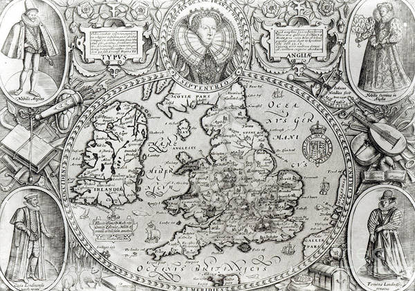 England Drawing - Map Of England During The Reign Of Queen Elizabeth I, 1590  by Jodocus Hondius
