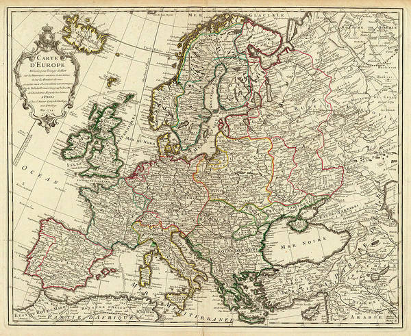Wall Art - Painting - Map Of Europe by Guillaume Delisle