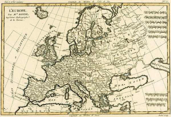 Mapping Drawing - Map Of Europe by Guillaume Raynal