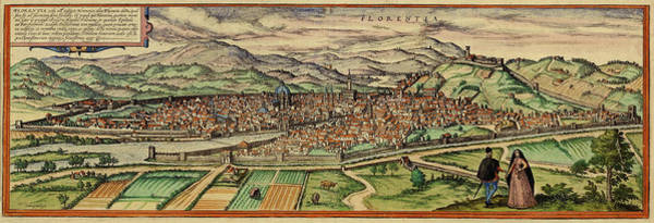 Photograph - Map Of Florence 1572 by Andrew Fare