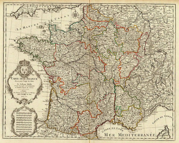 Wall Art - Painting - Map Of France by Guillaume Delisle