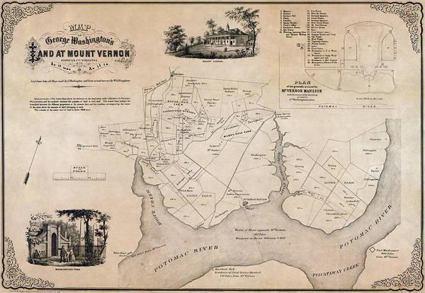 Mount Vernon Photograph - Map Of George Washingtons Mount Vernon - 1859 by Daniel Hagerman