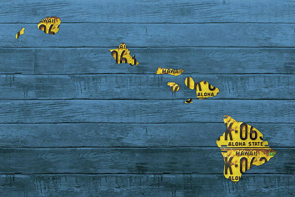 Hawaii Mixed Media - Map Of Hawaii In License Plates Beach House Decor Series 001 by Design Turnpike