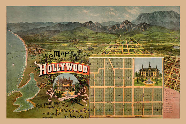 Photograph - Map Of Hollywood 1887 by Andrew Fare