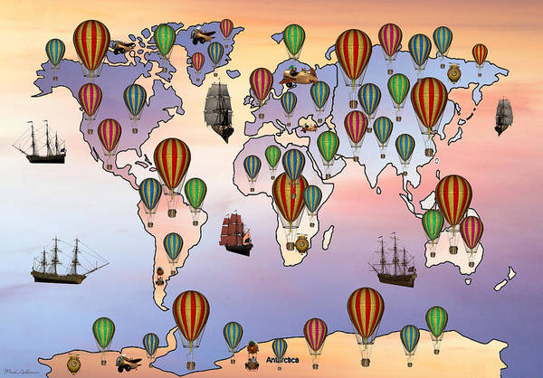 Wall Art - Digital Art - Map Of Hot Balloon by Mark Ashkenazi