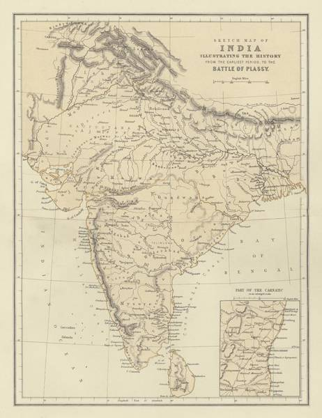 India Drawing - Map Of India by English School