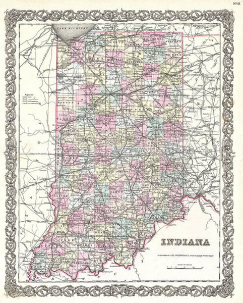 Drawing - Map Of Indiana by Joseph Hutchins Colton