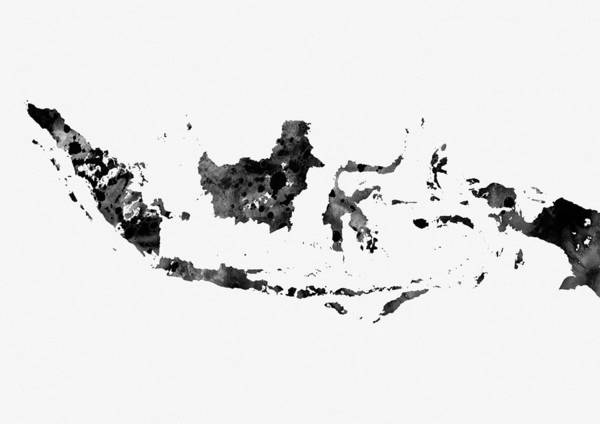 Indonesia Digital Art - Map Of Indonesia-black 2 by Erzebet S