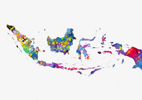 Indonesia Digital Art - Map Of Indonesia-colorful by Erzebet S