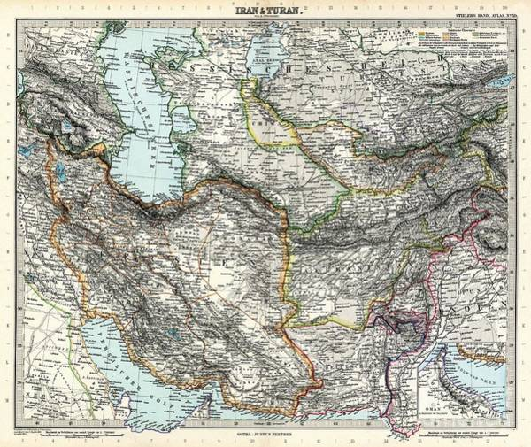 Painting - Map Of Iran And Turan In Qajar Dynasty Drawn By Adolf Stieler by Celestial Images