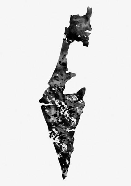 Israel Digital Art - Map Of Israel-black 2 by Erzebet S