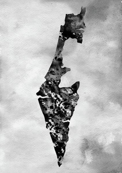 Israel Digital Art -  Map Of Israel-black by Erzebet S