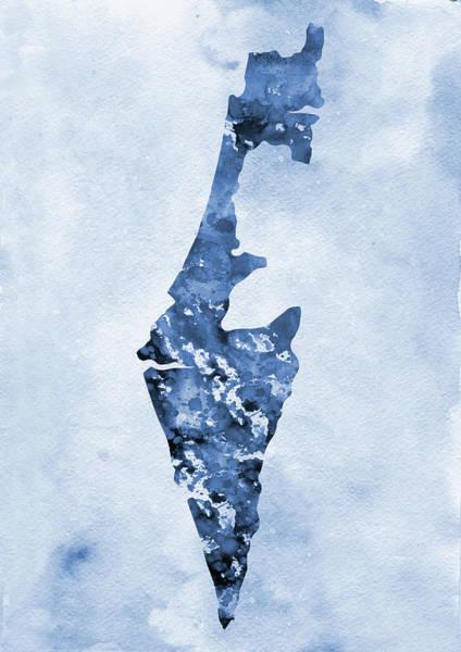 Israel Digital Art - Map Of Israel-blue by Erzebet S
