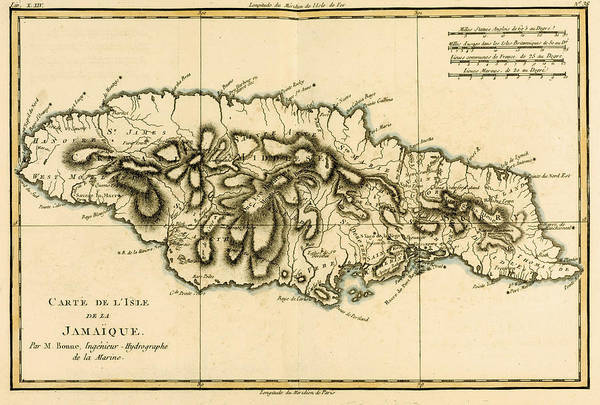 Old West Drawing - Map Of Jamaica by Guillaume Raynal