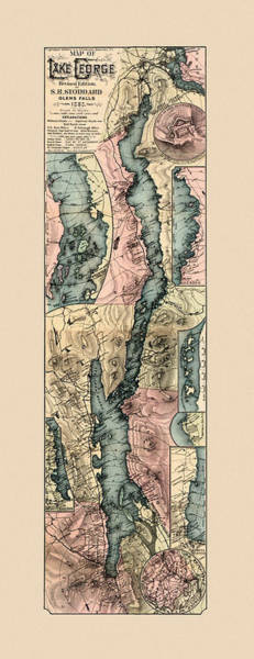 Wall Art - Photograph - Map Of Lake George 1890 by Andrew Fare