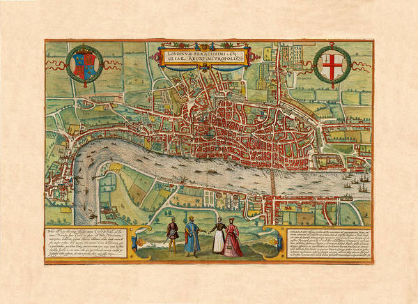 Photograph - Map Of London 1570 by Andrew Fare