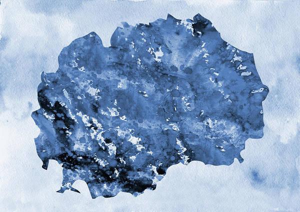 Macedonia Digital Art - Map Of Macedonia-blue by Erzebet S