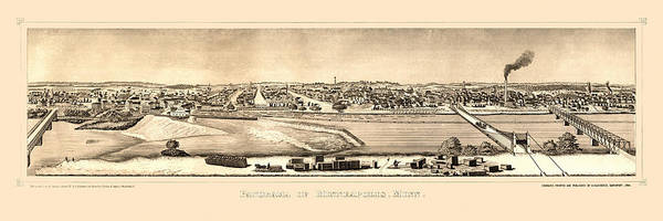 Photograph - Map Of Minneapolis 1873 by Andrew Fare