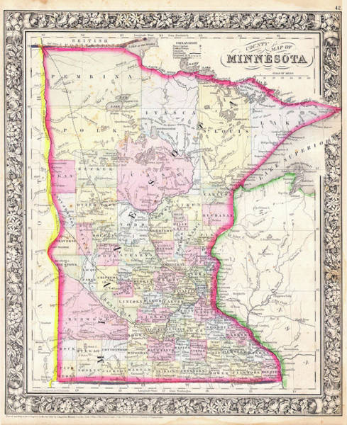 Minnesota Drawing - Map Of Minnesota 1864 by Mountain Dreams