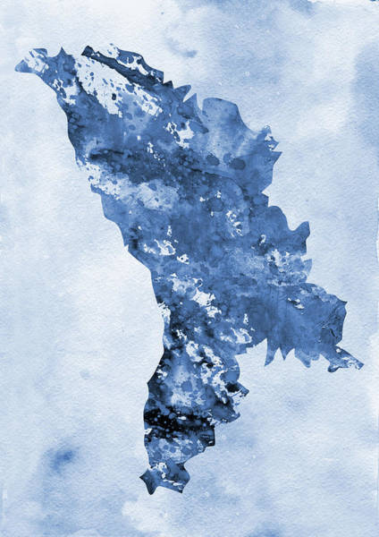 Moldova Wall Art - Digital Art - Map Of Moldova-blue by Erzebet S
