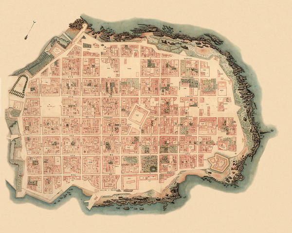 Montevideo Wall Art - Photograph - Map Of Montevideo 1820 by Andrew Fare