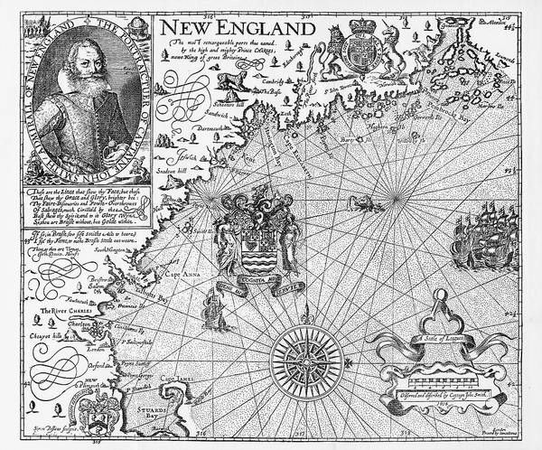 Risk Drawing - Map Of New England By Explorer John Smith, Circa 1624 by Peacock Graphics