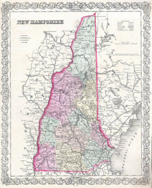 Drawing - Map Of New Hampshire by Joseph Hutchins Colton
