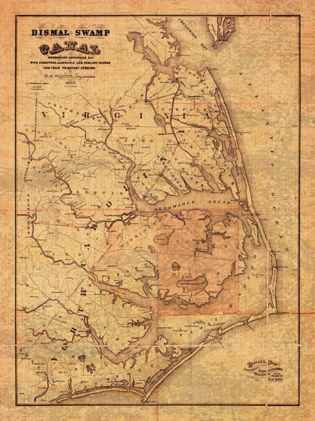 Outer Banks Wall Art - Mixed Media - Map Of Outer Banks North Carolina Dismal Swamp Canal Currituck Albemarle Pamlico Sounds Circa 1867  by Design Turnpike