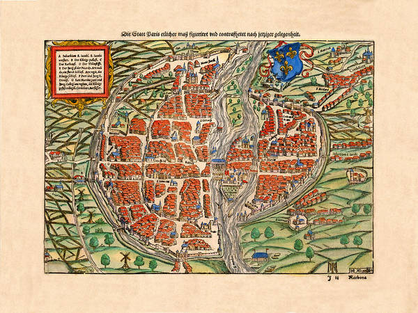 Photograph - Map Of Paris 1560 by Andrew Fare