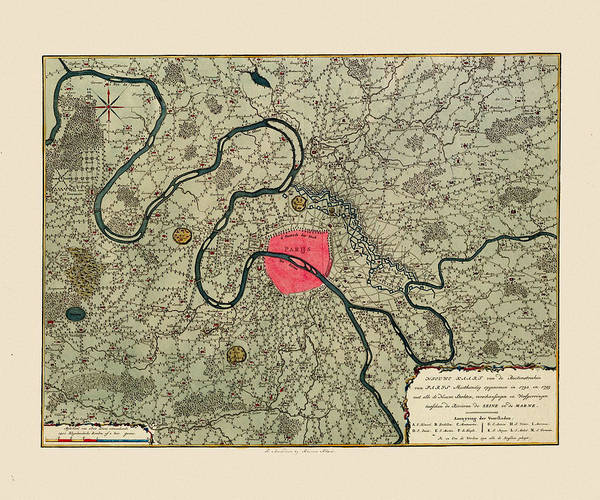 Wall Art - Photograph - Map Of Paris 1794 by Andrew Fare