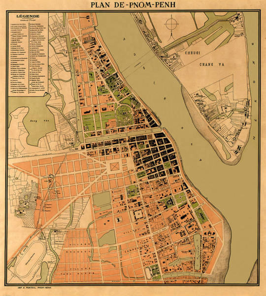 Phnom Penh Photograph - Map Of Phnom Penh 1920 by Andrew Fare