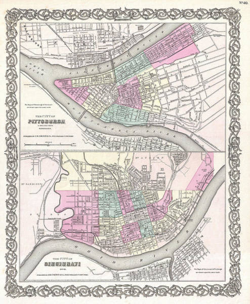 Drawing - Map Of Pittsburgh Pennsylvania And Cincinnati Ohio by Joseph Hutchins Colton