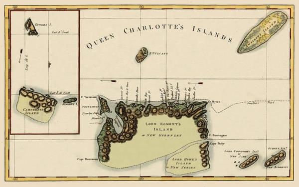 Queen Charlotte Islands Wall Art - Photograph - Map Of Queen Charlotte Islands 1776 by Andrew Fare
