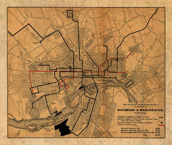 Richmond Virginia Wall Art - Mixed Media - Map Of Richmond Virginia Vintage Street Car Railway Schematic From 1901 On Worn Distressed Canvas by Design Turnpike
