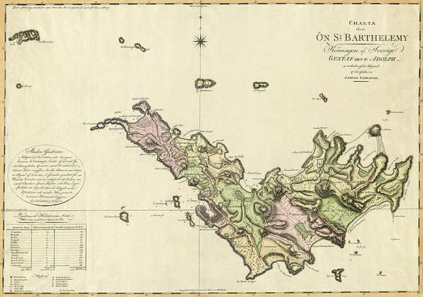 Map Of Saint Barts 1801 Art Print