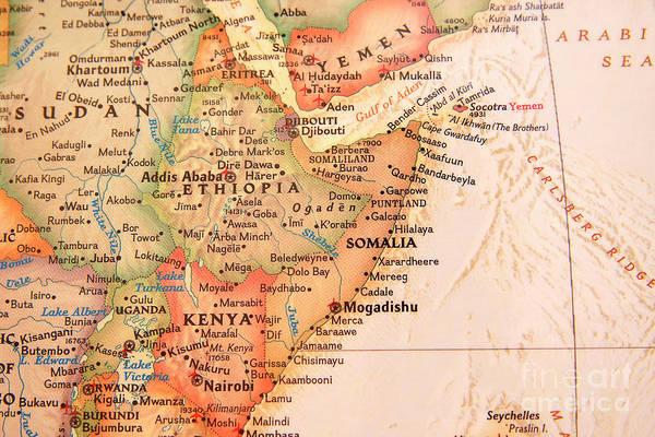 Photograph - Map Of Somalia And Ethiopia by Jill Lang
