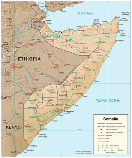 Mogadishu Wall Art - Mixed Media - Map Of Somalia by Roy Pedersen