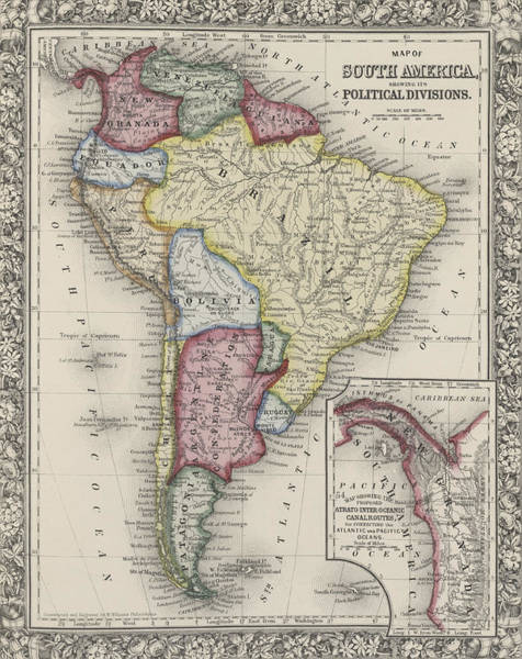 Decorative Drawing - Map Of South America by Samuel Augustus Mitchell