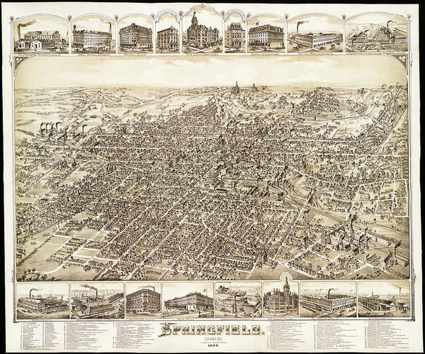 Contour Map Photograph - Map Of Springfield Ohio 1884 by Mountain Dreams