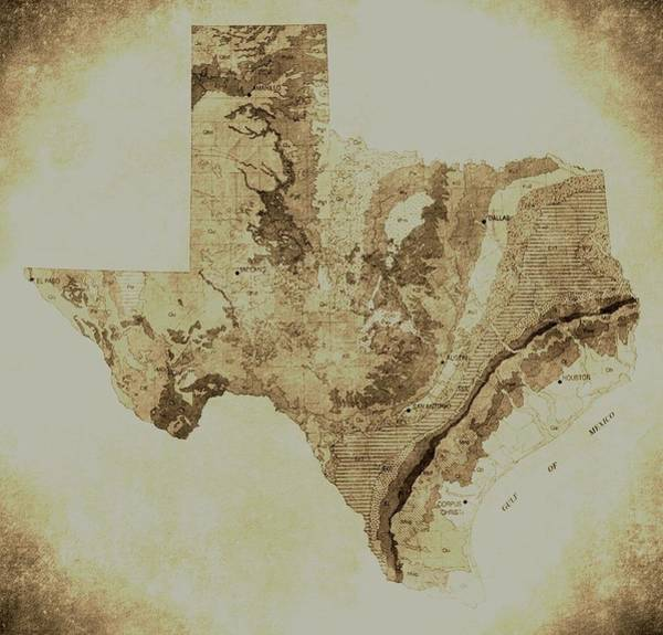 Map Of Texas In Vintage Art Print