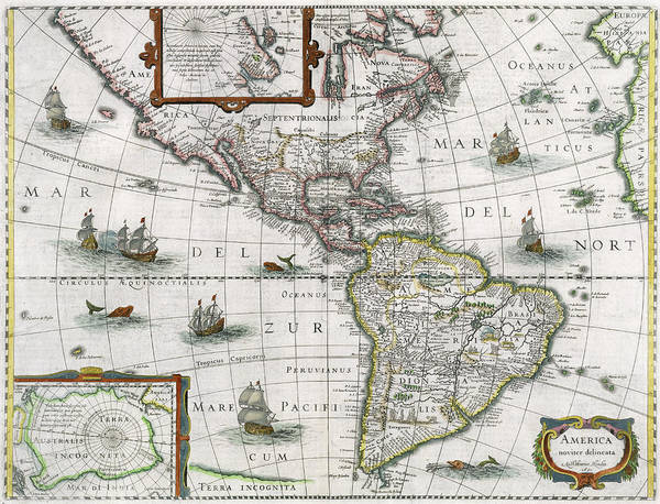 Old South Painting - Map Of The Americas by Henricus Hondius