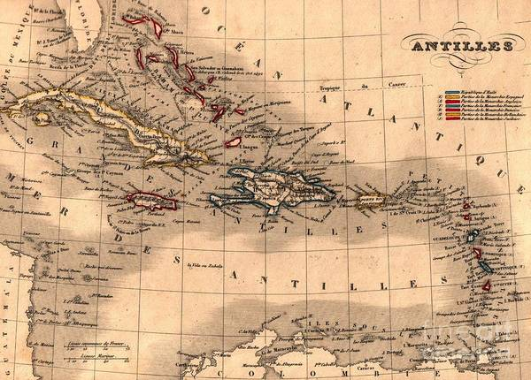 Painting - Map Of The Antilles - The Caribbean Islands by Celestial Images