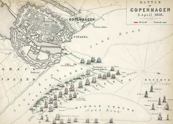 Mapping Drawing - Map Of The Battle Of Copenhagen by Alexander Keith Johnston