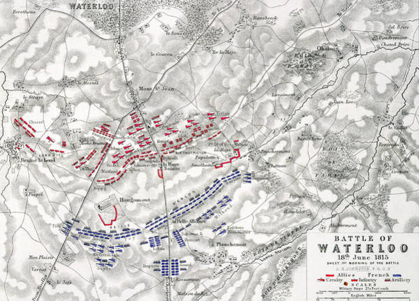 Warfare Drawing - Map Of The Battle Of Waterloo by Alexander Keith Johnston