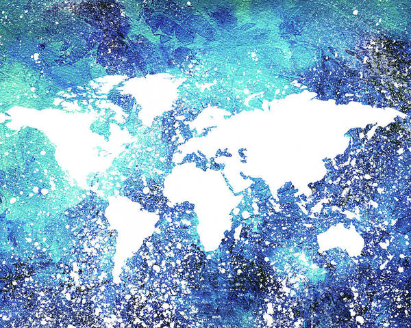 Painting - Map Of The Blue World Ice Age by Irina Sztukowski