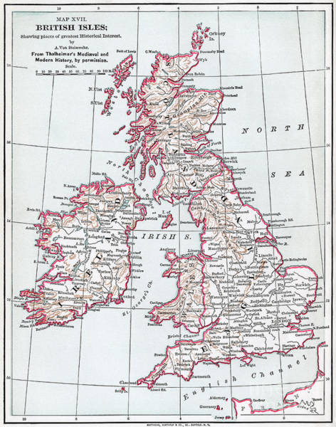 Drawing - Map Of The British Isles.  by Granger